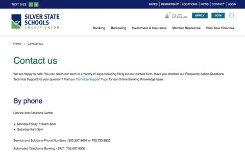 Screenshot of Contact Page silverstatecu.com - Silver State Schools Credit Union : Contact Us | Silver State Schools Credit Union - captured Feb. 1, 2018