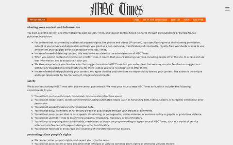 Screenshot of Privacy Page mbctimes.com - Privacy policy Ń MBC Times - captured Dec. 23, 2015