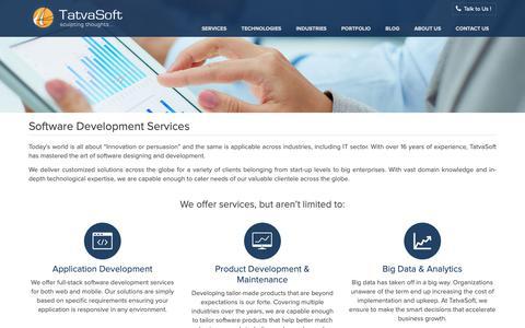 Screenshot of Services Page tatvasoft.com - Custom Software Development Services – TatvaSoft - captured Oct. 9, 2018