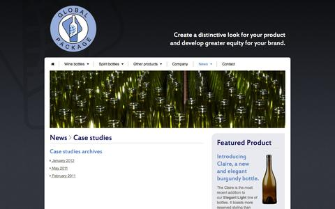 Screenshot of Case Studies Page globalpackage.net - Case studies | Global Package | Wine, Spirits and Food: International Packaging Solutions - captured Oct. 3, 2014