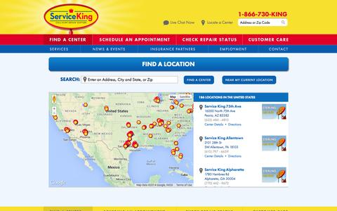 Screenshot of Locations Page serviceking.com - Auto Repair Shop Location Near You | Service King - captured Nov. 2, 2014