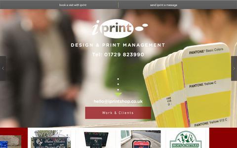 Screenshot of Home Page iprintshop.co.uk - iprintshop, design & print management in Settle, Yorkshire Dales - captured Oct. 16, 2017