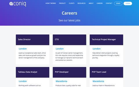 Screenshot of Jobs Page coniq.com - Careers - Coniq : Coniq - captured Nov. 20, 2018