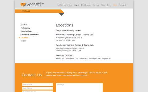 Screenshot of Locations Page weareversatile.com - Versatile - Our Locations | Versatile Communications - captured Oct. 26, 2014