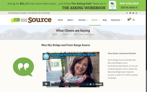 Screenshot of Testimonials Page frontrangesource.com - What Clients are Saying | Front Range Source - captured Aug. 31, 2018