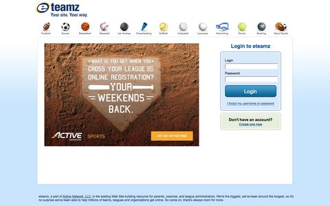 Screenshot of Login Page eteamz.com - eteamz.com - The Team Sports Web Site Leader - captured Nov. 15, 2016