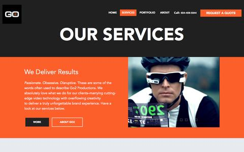 Screenshot of Services Page go2productions.com - Services - Go2 Productions - captured Oct. 1, 2015