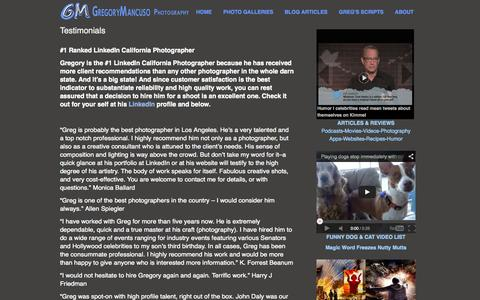 Screenshot of Testimonials Page gregorymancuso.com - photographers in los angeles - captured Oct. 3, 2014