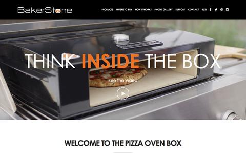 Screenshot of Home Page bakerstonebox.com - BakerStone Pizza Oven Box - captured Oct. 5, 2014
