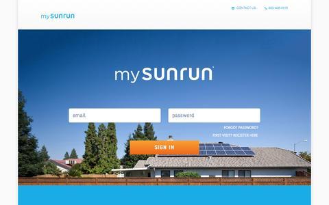 Screenshot of Login Page sunrun.com - mySunrun - captured Nov. 21, 2015