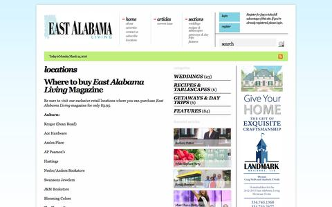 Screenshot of Locations Page eastalabamaliving.com - locations «  East Alabama Living - captured March 13, 2016