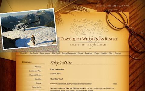 Screenshot of Blog wildretreat.com - Blog - captured Sept. 19, 2014