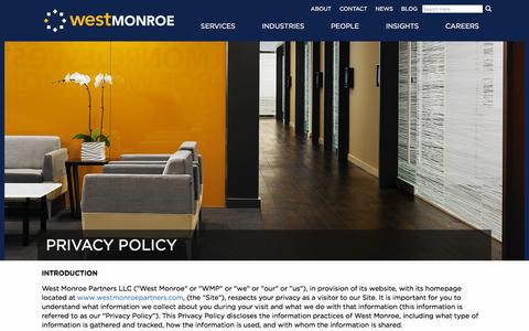 Screenshot of Privacy Page westmonroepartners.com - Privacy Policy | West Monroe Partners - captured Feb. 3, 2016