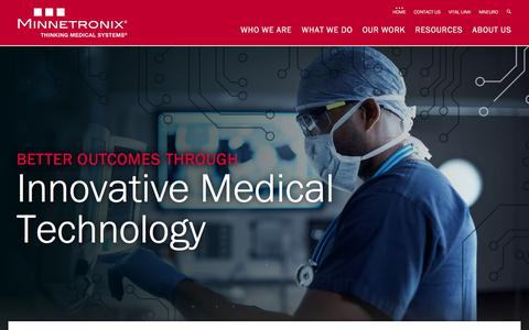 Screenshot of Home Page Menu Page minnetronix.com - Minnetronix - Thinking Medical Systems - captured Oct. 19, 2017