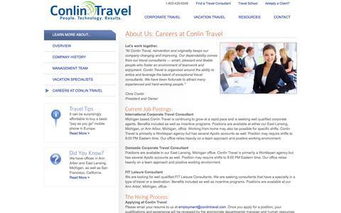 Screenshot of Jobs Page conlintravel.com - Join the Conlin Travel team - Conlin Travel - captured Sept. 30, 2014