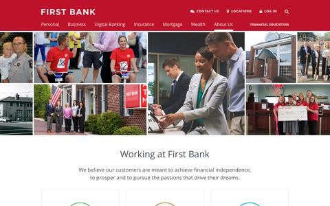 Screenshot of Jobs Page localfirstbank.com - Working at First Bank   First Bank - captured July 30, 2018
