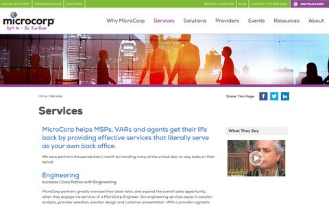 Screenshot of Services Page microcorp.com - Services for Agents, MSPs, and VARs - MicroCorp - Telecom & Cloud Master Agent - Data Center, SD-WAN, & More - captured Dec. 10, 2018