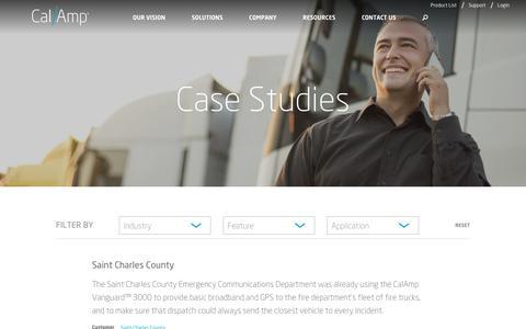 Screenshot of Case Studies Page calamp.com - Case Studies - CalAmp - captured Dec. 20, 2017