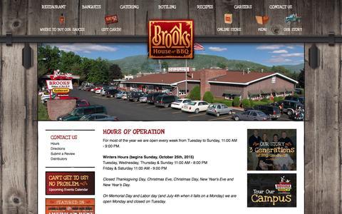 Screenshot of Hours Page brooksbbq.com - Brooks BBQ :: Hours - captured June 20, 2016