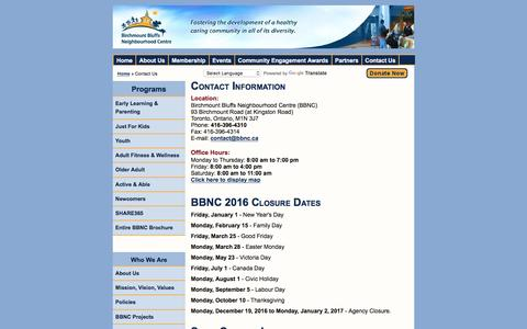 Screenshot of Contact Page bbnc.ca - Contact Us - Birchmount Bluffs Neighbourhood Centre - captured Nov. 22, 2016