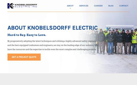 Screenshot of About Page knobelsdorffelectric.com - About - captured Dec. 10, 2018