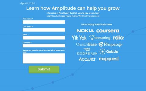Screenshot of Landing Page amplitude.com - Amplitude: Request Demo - captured Aug. 19, 2016