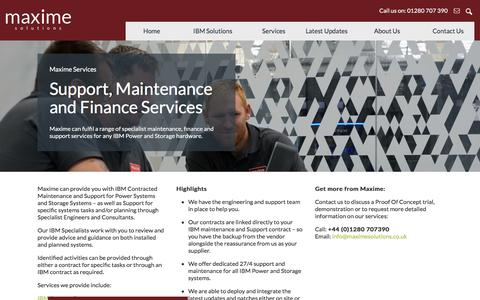 Screenshot of Services Page maximesolutions.co.uk - Support, Maintenance and Finance Services - Maxime Solutions | Maxime Solutions - captured Sept. 20, 2018