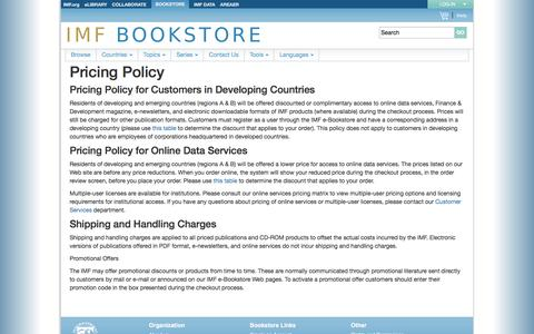 Screenshot of Pricing Page imf.org - IMF bookstore - captured April 1, 2017