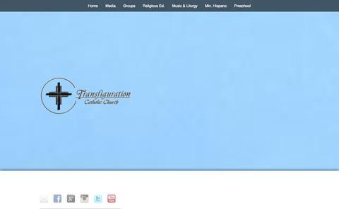 Screenshot of Home Page transfiguration.com - Transfiguration Catholic Church, Marietta, Georgia - Welcome Home - captured Oct. 7, 2014