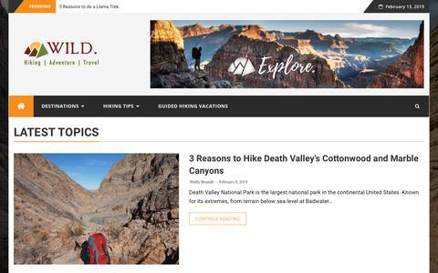 Screenshot of Blog wildlandtrekking.com - Wild. - A Hiking, Traveling, Adventure Blog - captured Feb. 13, 2019