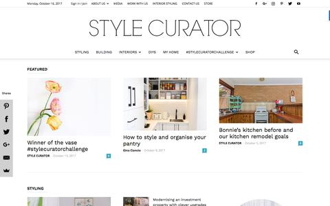 Screenshot of Home Page stylecurator.com.au - STYLE CURATOR - latest home decorating, design, DIYs, home tours and interviews with people in the industry - captured Oct. 16, 2017