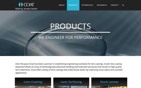 Screenshot of Products Page icoatcompany.com - Products - captured Feb. 11, 2016