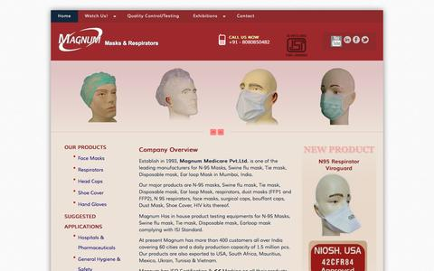 Screenshot of Home Page magnummedicare.com - manufacturers of N-95 masks, swine flu mask, tie mask, disposable mask, ear loop mask in mumbai india - captured Feb. 4, 2016