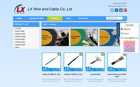 Screenshot of Products Page cablelx.com - Single Core Solid BV Wire,Standard Coaxial Cables,PVC Electric Cable - captured Jan. 23, 2016