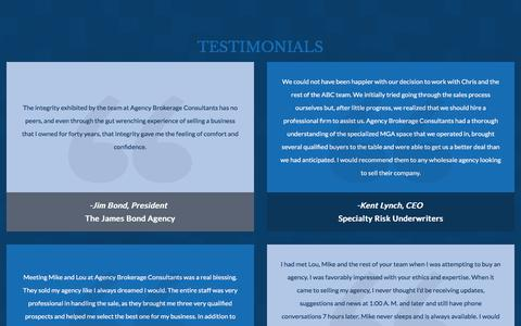 Screenshot of Testimonials Page agencybrokerageconsultants.com - Testimonials | Buying & Selling an Insurance Agency | ABC - captured July 29, 2018