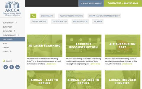Screenshot of Case Studies Page arcca.com - Case Studies | Engineering Capabilities | ARCCA Engineers and Experts - captured Oct. 15, 2018