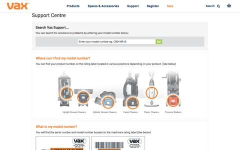 Screenshot of Support Page vax.co.uk - VAX Official Support Centre   VAX.co.uk - captured Dec. 5, 2016