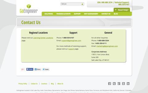 Screenshot of Contact Page goengineer.com - Contact Us - GoEngineer - captured Sept. 26, 2014
