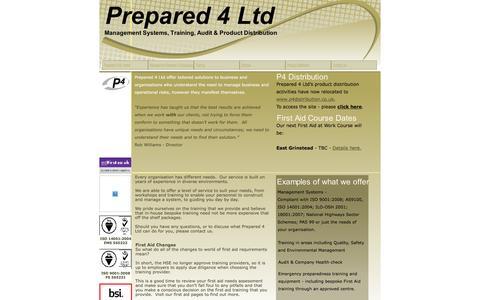 Screenshot of Home Page prepared-4.co.uk - Prepared 4 Ltd - Home - captured Jan. 30, 2016