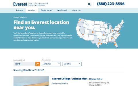 Screenshot of Locations Page everest.edu - Campus Locations - Everest - captured June 11, 2016