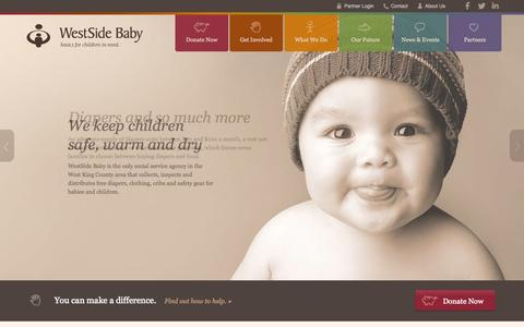 Screenshot of Home Page westsidebaby.org - WestSide Baby | Basics for children in need - captured Aug. 15, 2015