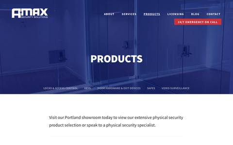 Screenshot of Products Page amaxsecurity.com - PRODUCTS - A-MAX Security Solutions - captured Nov. 16, 2016