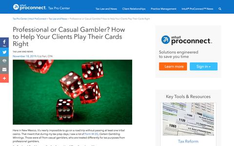 Screenshot of Press Page intuit.com - Professional or Casual Gambler? How to Help Your Clients Play Their Cards Right | Tax Pro Center | Intuit ProConnect - captured Nov. 21, 2019