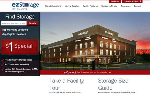 Screenshot of Home Page ezstorage.com - Self Storage Facilities & Locations Maryland, Virginia, DC   ezStorage - captured Sept. 25, 2014