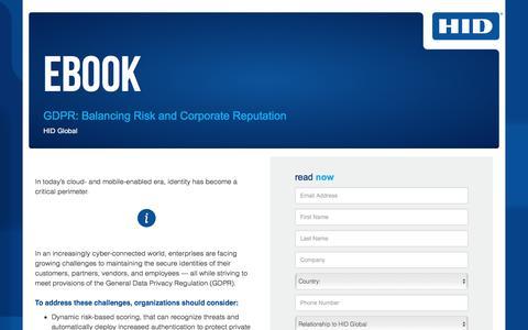 Screenshot of Landing Page hidglobal.com - GDPR: Balancing Risk and Corporate Reputation - captured April 8, 2018