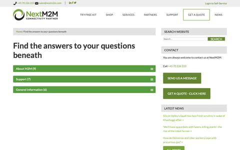 Screenshot of FAQ Page nextm2m.com - Find the answers to your questions beneath - captured Oct. 20, 2018