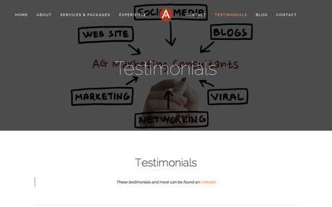 Screenshot of Testimonials Page aarongrijalva.com - Testimonials — AG Marketing Consultants - captured Nov. 2, 2014