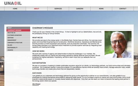 Screenshot of About Page unaoil.com - Chairman's Message | About  | Unaoil - captured Oct. 7, 2014