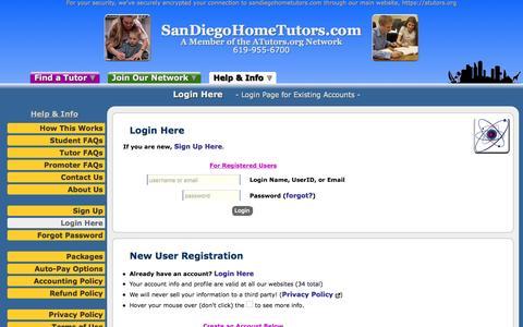 Screenshot of Login Page atutors.org - SanDiegoHomeTutors.com: Login Here - Login Page for Existing Accounts - captured Nov. 18, 2016