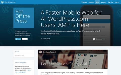 Screenshot of Blog wordpress.com - WordPress.com News - captured Feb. 25, 2016
